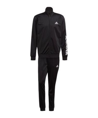 adidas M LIN Trainingsanzug Schwarz Weiss