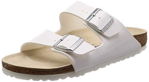 Birkenstock Classic Arizona Birko-Flor Unisex-Erwachsene Pantoletten, Weiß (WEISS)