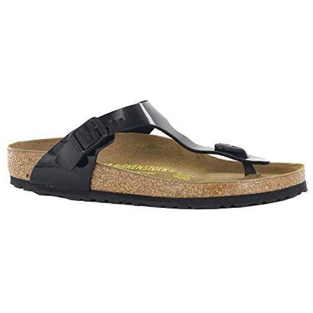separation shoes ba380 ff7e2 Birkenstock Damen Classic Gizeh Damen Zehentrenner - Schwarz (Schwarz Lack)  , 41