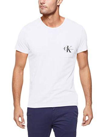 low priced 9766a 2a2be Calvin Klein Jeans Herren Shirt Monogram Pocket Slim Tee weiß XXL