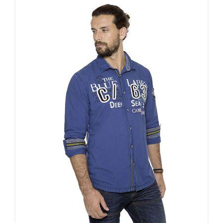 CAMP DAVID Hemd mit Artwork, Regular Fit Langarmhemden blau Herren Gr. 50