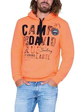 Camp David Herren Hoodie mit Raw Edges und Used Artwork