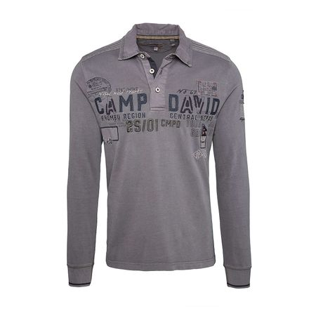 CAMP DAVID Polo-Sweatshirt Poloshirts schwarz Herren Gr. 48