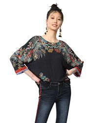 Desigual Damen Blouse 3/4 Sleeve Emma Woman Blue Bluse