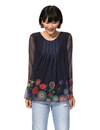 Desigual Damen T-Shirt Long Sleeve Rachel Woman Blue Langarmshirt