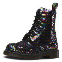 Dr. Martens 8 Eye Shoe 1460 Sequin Rainbow silber Damen Gr. 36