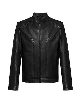 HUGO Lederjacke Extra Slim Fit Lonos schwarz   Herren   Größe: S   50441830