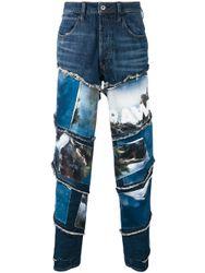 Patchwork-Jeans mit Landschafts-Print