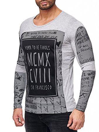Red Bridge Herren Longshirt Sweatshirt Layered Netz-Optik Print Pullover