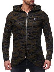 Red Bridge Herren Strickjacke Cardigan Designer Oversize Camouflage Jacke mit Kapuze