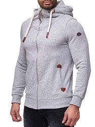 Red Bridge Herren Sweatjacke Basic Sweat Pullover Kapuzen-Sweater Dicke Kordel M2143 Grau S