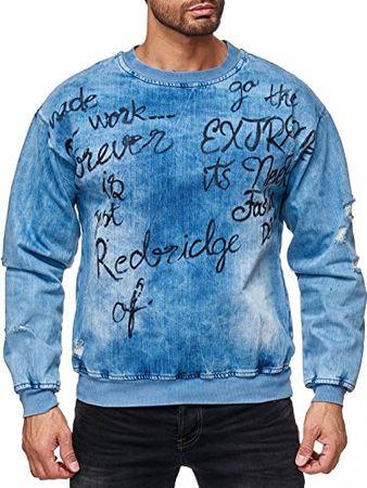 Red Bridge Herren Sweatshirt Jeans-Look Destroyed Pullover Sweater Denim