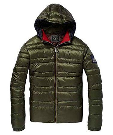 Scotch & Soda Jacket Men Classic Hooded DOWN Jacket 145177 Khaki Khaki 0115