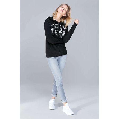 SOCCX Hoodie-Jacket mit Glitter Artwork Sweatjacken schwarz Damen Gr. 40