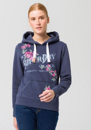 Superdry Kapuzensweatshirt ARIZONA PUFF EMBROIDERY ENTRY HOOD mit floralem Logo-Print