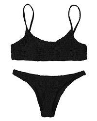 ZAFUL Damen Cami Smocked Bikini-Sets mit Spaghetti-Träger Bikinis Bademode Badeanzug Swimwear Swimsuit Large Schwarz